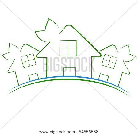 Vector Illustration Of The Three Green Houses Icon