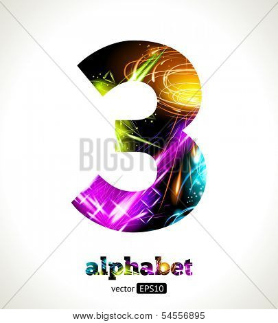 Vector Customizable Light Effect Alphabet. Design Abstract figure 3.