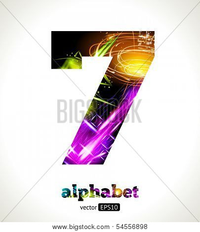Vector Customizable Light Effect Alphabet. Design Abstract figure 7.