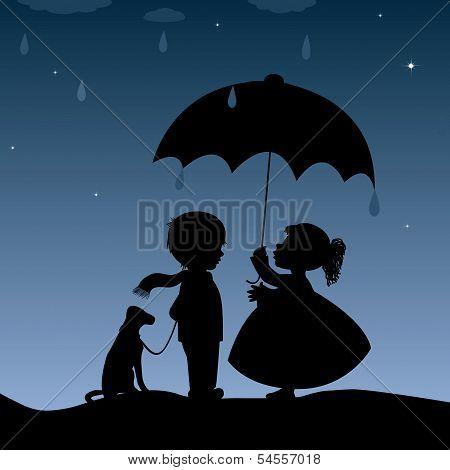 Kids With An Umbrella