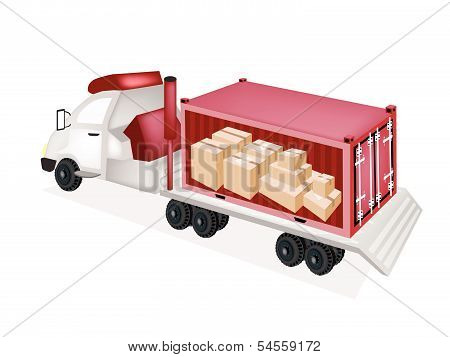 Flatbed Trailer Loading Paper Boxes In Cargo Container