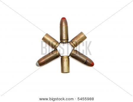 Star Made Of 9Mm  Cartridges And Cases Isolated