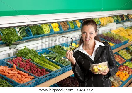 Shopping Series - Business Woman Buying Fruit Salad