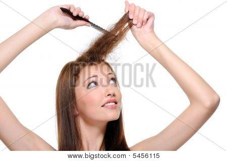 Backcombing Long Brunette Female Hair