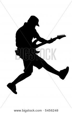 A Silhouette Of A  Guitar Player Jumping In Midair