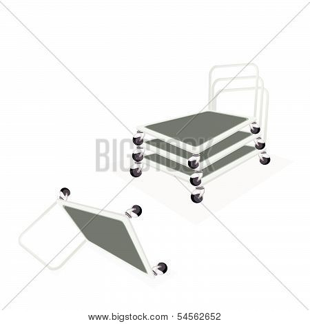 Stack Of Hand Truck Or Dolly On White Background