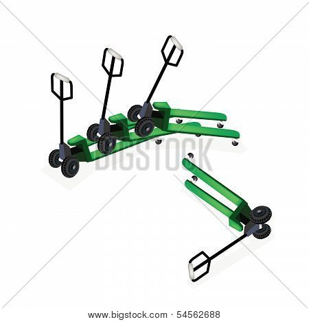 A Group Of Pallet Truck On White Background