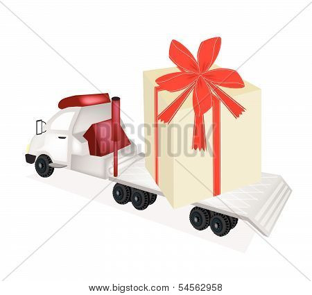 Tractor Trailer Flatbed Loading A Giant Gift Box
