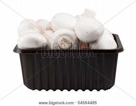 Punnet Of Button Mushrooms