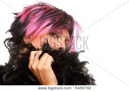Pink And Black Haired Girl With Boa Portrait