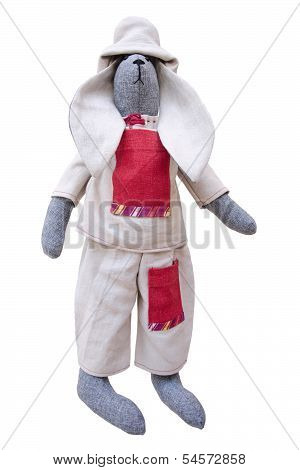 Isolated Handmade Doll Bunny In Homespun Jacket, Pants With Pockets And A Fishing Hat