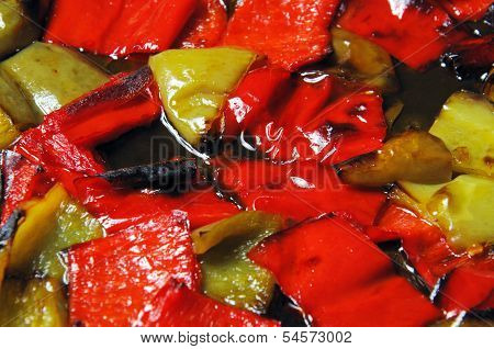 Roasted red and green peppers.