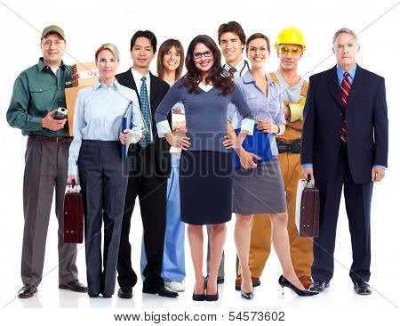 Group of employee people. Business team isolated on white background.