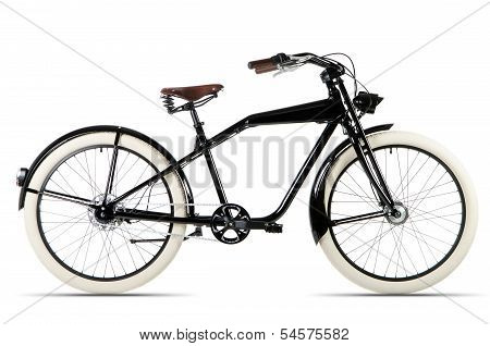 Black Bicycle Before White Background