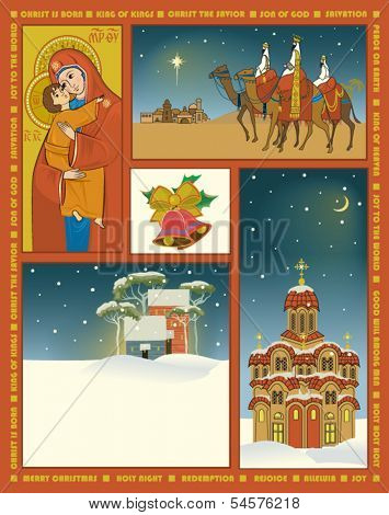 Vintage Style Christmas Poster - Religious Christmas poster with icon of Mother of God, three wise men, church, village and Christmas bells
