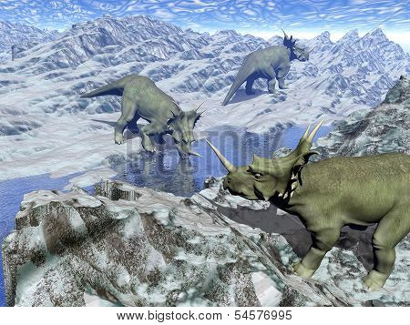 Styracosaurus near water- 3D render