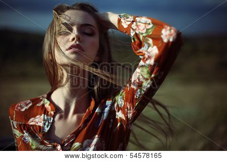 Sensual Beautiful Young Woman With Developing Hair