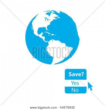 Minimal illustration of globe with question raising awareness. Highly detailed.