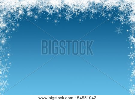 Christmas background with a snowflakes and stars border