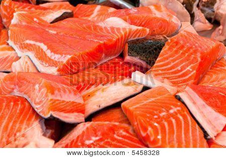 Filet Of Salmon At Fishmarket