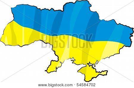 ukraine - map and flag