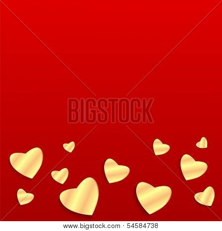 Background Valentine's Day.golden Heart On A Red Background.hearts Of Different Sizes Of Golden Pape