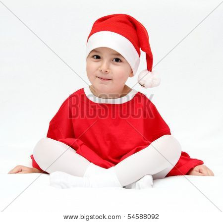 Beautiful Child In Santa Claus Hat