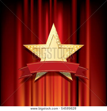 vector golden star with blank banner