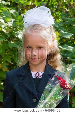 Portrait Of Nice Little Schoolgirl