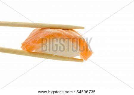 Sushi Nigiri With Salmon Isolated On White Background