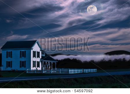 Rural Home At Night