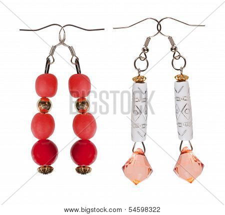 Earrings- Pendants With Sequins And Red Beads On White Background