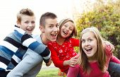picture of babysitter  - Beautiful babysitter having fun with the children - JPG
