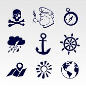 Seafaring icons set