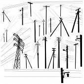 stock photo of electricity pylon  - Pylon high voltage power lines silhouette set - JPG