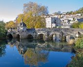 image of lockups  - Autumn Scene of an Old Town Bridge - JPG