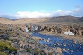 stock photo of taimyr  - waterfall  on the Putorana plateau - JPG