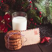 stock photo of letters to santa claus  - Cookie with milk and letter for Santa Claus - JPG