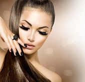 picture of manicure  - Beauty Fashion Model Girl with Long Healthy Brown Hair - JPG