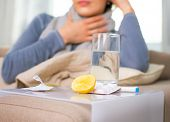 stock photo of cough  - Sick Woman - JPG