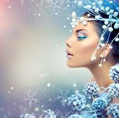 stock photo of icing  - Winter Beauty Woman - JPG