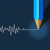 stock photo of flatline  - Euthanasia Medical Intervention as a medical health care concept of doctor social dilemma in end of life as a pencil drawing an ecg - JPG