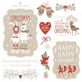 image of rabbit year  - Set of Christmas lettering and graphic elements - JPG