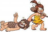 stock photo of cave woman  - Cave woman dragging a caveman clip art - JPG