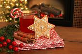 image of cider apples  - Christmas cookie and hot apple cider by the fireplace - JPG