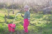Little Beautiful Girl With Hose And  Bucke