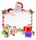 pic of peek  - Santa Christmas gifts sign illustration with Santa peeking over a sign surrounded by stacks of Christmas gifts - JPG