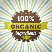 100 Percent Organic Ingredients Eco Label Poster