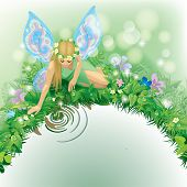 Raster version of vector illustration with a fairy girl with blue wings seated near the water border