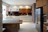 image of diners  - Clean modern kitchen - JPG